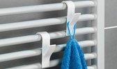 4x Handdoek / Kleding Haak voor Radiator - Verwarming Kledinghaak Hangend - Handdoekradiator Haakjes - ophanghaak - Wit