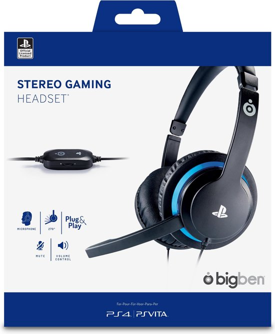 Official licensed PlayStation 4 Wired Gaming Headset - PS4 + PS Vita - Bigben