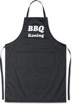 BBQ Koning - Luxe Schort Keukenschort met tekst - Zwart