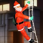 Kerstman op ladder - 90 cm - 48 leds - kerstversiering