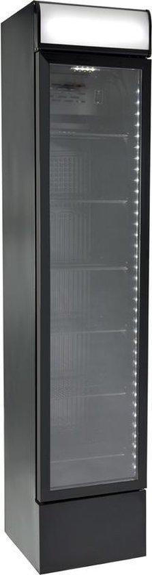 Koelkast: Gastro-Cool DC130 - Slimline koelkast met glazen deur 150 Liter - Zwart/Zwart/Zwart 135101, van het merk Gastro-Cool