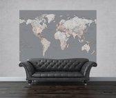 Fotobehang - Silver map small - 232 cm x 158 cm - Grijs