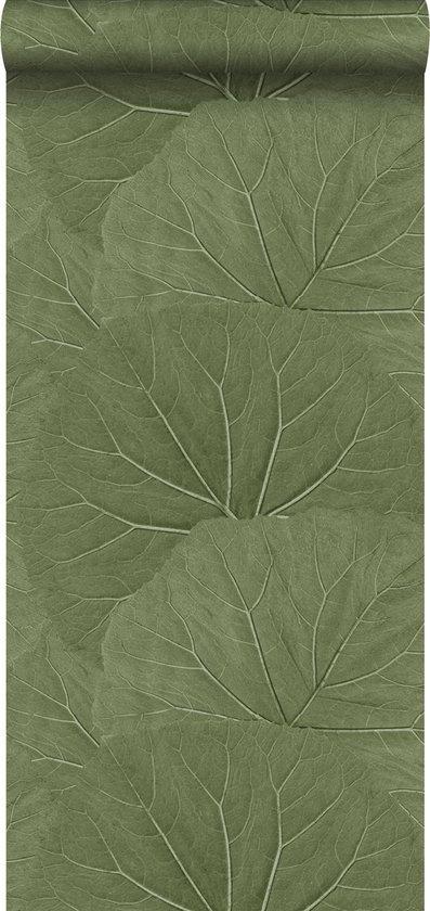 ESTAhome 138995 Vliesbehang Grote Bladeren - 53 x 1005 cm - Vergrijsd/Olijfgroen - ESTAHome