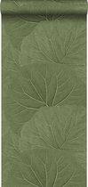 ESTAhome behang grote bladeren vergrijsd olijfgroen - 138995 - 0.53 x 10.05 m