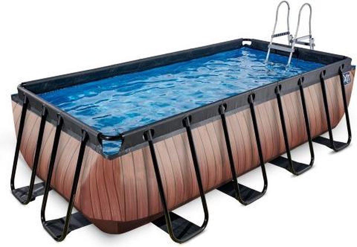 EXIT Wood zwembad 400x200x100cm met zandfilterpomp - bruin