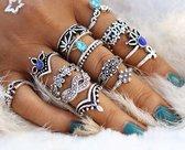 13 delige ringen set Bohemian style