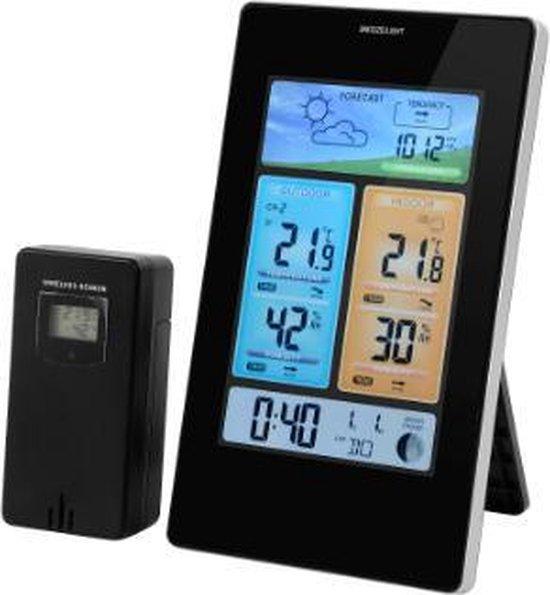 Draadloze weerstation | Indoor & Outdoor | met buitensensor | LED Kleurendisplay | Bereik tot 60 meter