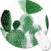Muismat Rond Cactus   Muismat Rubber   Mousepad 20 x 20 cm