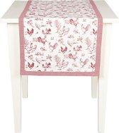 Mooi landelijk tafelloper met kippen motief afgewerkt met een leuk ruitjes patroon - 50 x 140 cm - Rood