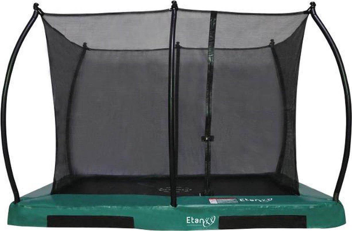 Inground Trampoline Etan Hi-Flyer Combi set - 281 x 201 cm - inc. Veiligheidsnet - Groen - Rechthoekig - Zeer veilig