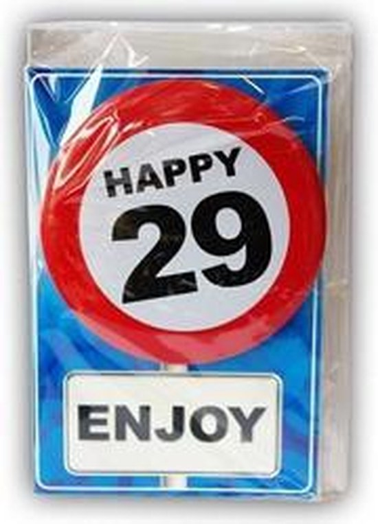 Happy Birthday kaart met button 29 jaar