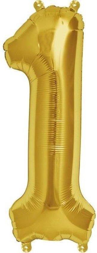 Folie Ballon Cijfer 1 Goud XL 86cm leeg
