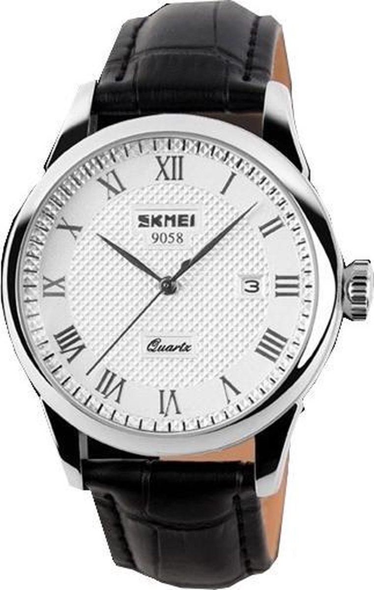 Klassiek Heren Horloge – Zwart Leer - Polshorloge - Giftbox