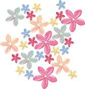 Bloemen muurstickers - 6 kleuren - 27 stuks