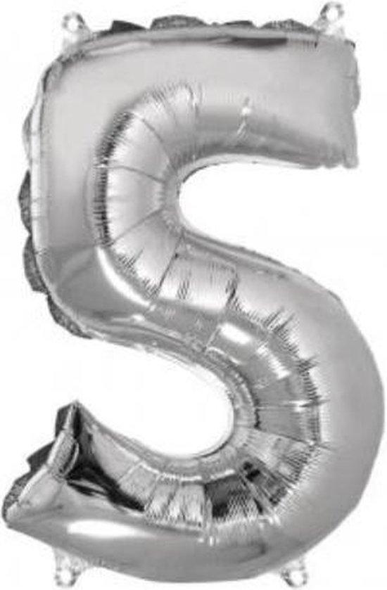 Folieballon cijfer 5 zilver