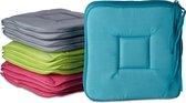 relaxdays stoelkussen set 4 stuks - kleurrijke zitkussen - 40x40 stoel kussen - wasbaar groen