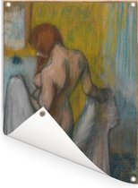 Woman with a Towel - Schilderij van Edgar Degas Tuinposter 60x80 cm - Tuindoek / Buitencanvas / Schilderijen voor buiten (tuin decoratie)