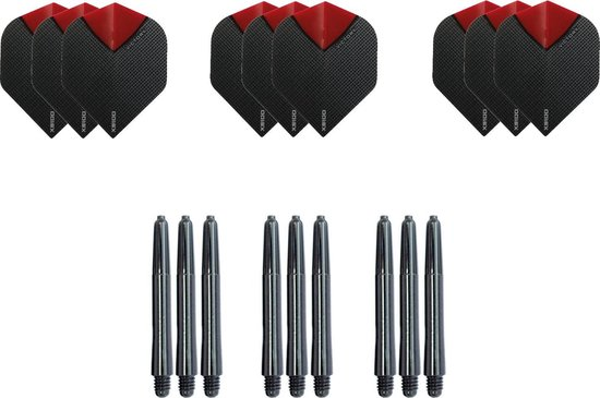 Dragon darts - Dartset - 3 sets dartflights en 3 sets nylon shafts - 18 pcs - skylight red