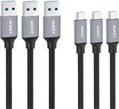 Aukey USB-C kabel CB-CMD1 3 Pack - 1m - Zwart
