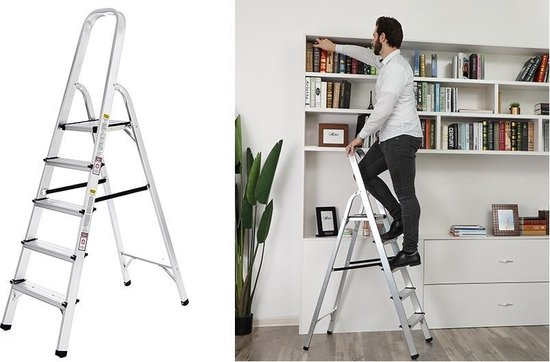 Huishoudtrap Keukentrap - 5 Treden - Huishoudladder Inklapbaar - Trapladder Opvouwbaar - Anti-Slip
