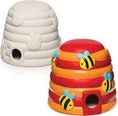 Keramische bijenhuisjes voor kinderen om te verven en versieren - Knutselset van porselein voor kinderen (doos van 2)