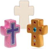 Keramische spaarpotten in de vorm van een kruis voor kinderen – Leuke knutsel- en decoratiesets voor jongens en meisjes (2 stuks per doos)