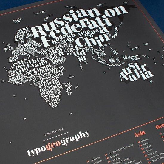 Scratch Map -Kraskaart met gekleurde Landennamen - Luckies Scratch Map Typogeography