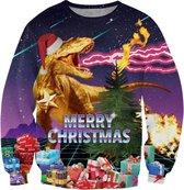 Foute retro kersttrui met cadeaus en T-Rex Maat: M