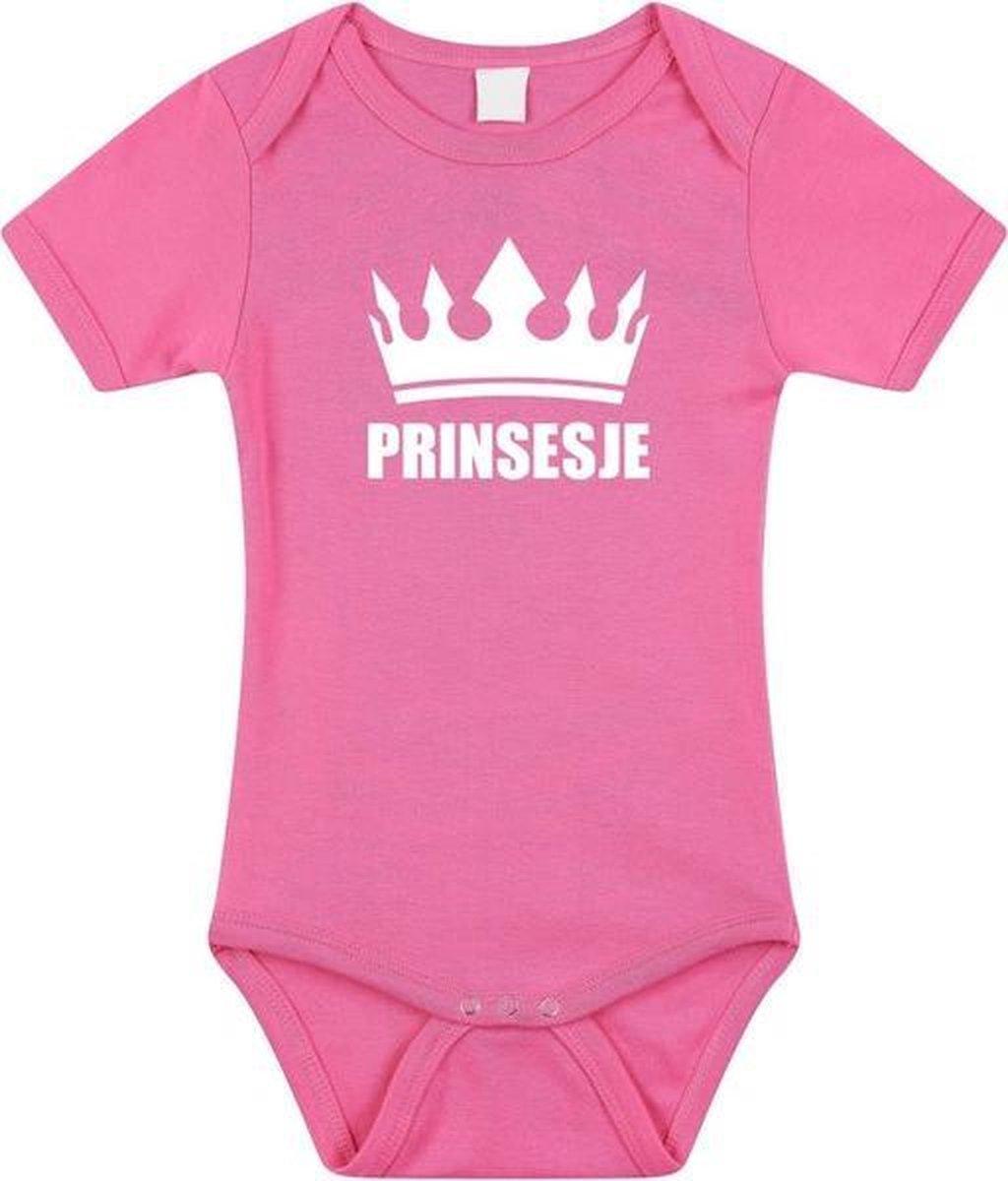 Prinsesje met kroon baby rompertje roze meisjes - Kraamcadeau - Babykleding 92 (18-24 maanden)