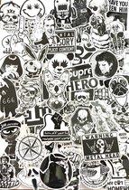 Random mix van 100 coole vinyl stickers in zwart wit - UV bestendig, watervast, verwijderbaar - Geschikt voor binnen en buiten - Plaatjes voor Laptop, auto, koelkast, skateboard,  koffer etc
