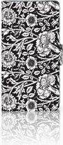 Sony Xperia XZ1 Bookcase Hoesje Black Flowers