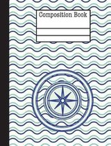 Compass Nautical Waves Composition Notebook - 5x5 Graph Paper