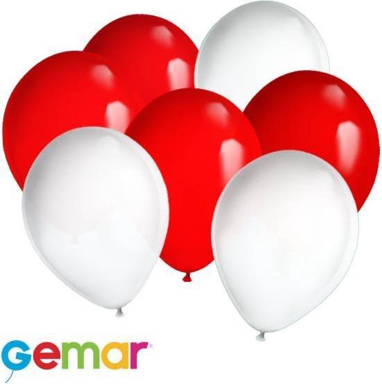 30x Ballonnen Rood en Wit (Ook geschikt voor Helium)