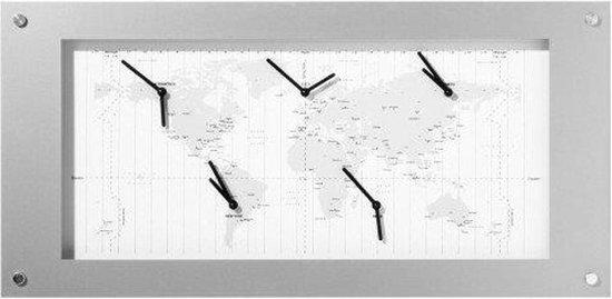 NeXtime Time Zone - Klok - Rechthoekig - Aluminium - 90x39 cm - Wit