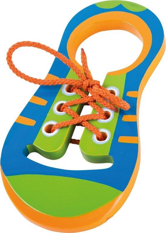 Gekleurde houten strikschoen / schoen om te leren veters strikken