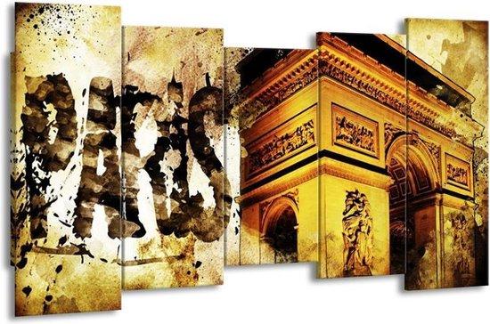 Canvas schilderij Parijs   Bruin, Geel, Grijs   150x80cm 5Luik