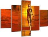 Glasschilderij Abstract   Goud, Rood, Geel   100x70cm 5Luik   Foto print op Glas    F003146