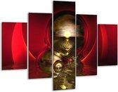 Glasschilderij Abstract   Goud, Rood, Wit   100x70cm 5Luik   Foto print op Glas    F003142