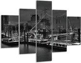 Glasschilderij Boot   Grijs, Zwart, Wit   100x70cm 5Luik   Foto print op Glas    F001733
