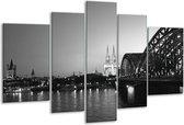 Glasschilderij Brug | Grijs, Zwart, Wit | 170x100cm 5Luik | Foto print op Glas |  F001754