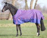 Regendeken luxe 0 gram Kobaltblauw ruit paardendeken - maat 205