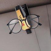 Auto zonneklep plastic zonnebril clip houder (geel)