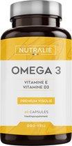 NUTRALIE Omega 3 Premium Visolie | 900 mg EPA en 350 mg DHA per dosis | Hoge concentratie van Vitamine D3 en E | 60 Capsules