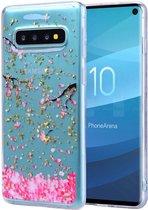 Samsung Galaxy S10 Plus Glitter TPU Hoesje met Print Pink Flowers
