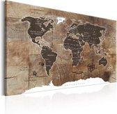 Schilderij - Wereldkaart , Houten Mozaïek , Houtlook - Multi Colour