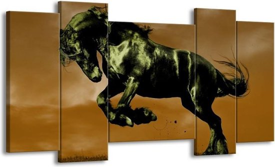 Canvas schilderij Paard | Bruin, Groen, Zwart | 120x65 5Luik
