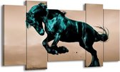 Canvas schilderij Paard | Bruin, Blauw, Zwart | 120x65 5Luik