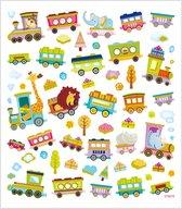 Stickers. vel 15x16.5 cm.  64 stuk. trein met dieren. 1vel