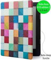 Lunso - Sleepcover voor Kobo Aura H20 edition 2 - blokken