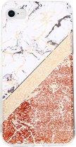 iPhone 7 / 8 Hoesje Roze x Marmer x Glitter TPU Case Back Cover